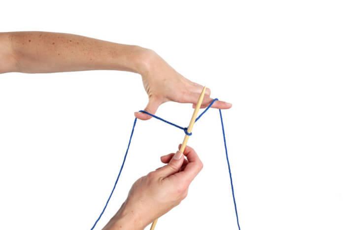 Накинуть нити поверх большого и указательного пальца