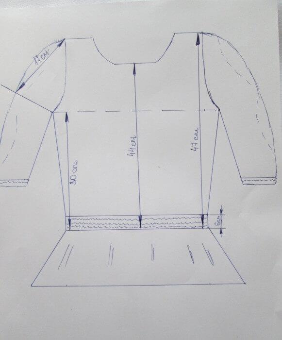 Построить выкройку блузки с баской своими руками 10